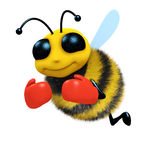3d Boxer bee. 3d render of a bee wearing boxing gloves Stock Photography