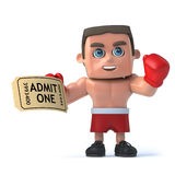 3d Boxer has a ticket to the show Stock Images