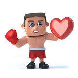 3d Boxer holding a red heart Royalty Free Stock Images