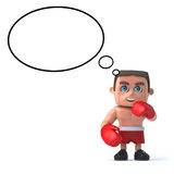 3d Boxer is thinking Stock Photo