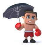 3d Boxer under an umbrella. 3d render of a boxer holding an umbrella Stock Photo