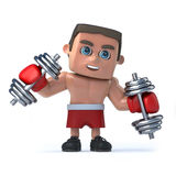 3d Boxer works out with weights. 3d render of a boxer working out with weights Stock Photos