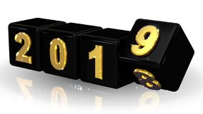 2019 3D boxes black gold. stock photography