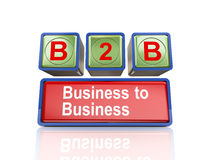 3d boxes of concept of b2b. 3d rendering of reflective boxes buzzword  b2b - business to business Stock Photo
