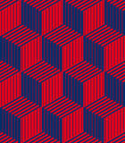 3d boxes geometric optical seamless pattern. Royalty Free Stock Photos