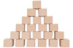 3d boxes papp frambragd bild boxes pyramiden Royaltyfri Bild