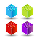 3d boxes with puzzle roof Stock Photos