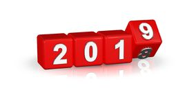 2019 3D boxes red silver. stock image