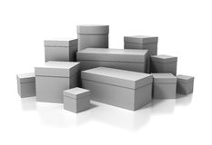 3D boxes  on white Stock Images