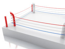 3d Boxing ring against  white background. 3d renderer image. 3d Boxing ring against  white background. Sports concept Royalty Free Stock Photo