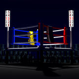 3d boxing ring. 3d boxing atmosphere in the night Stock Photo