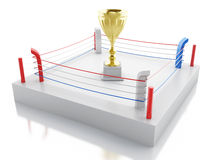 3d Boxing ring with a trophy. Sports concept. 3d renderer image. Boxing ring with a trophy. Sports concept.  white background Stock Images