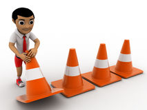 3d boy arranging traffic cones concept Stock Photography