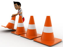 3d boy arranging traffic cones concept Royalty Free Stock Images