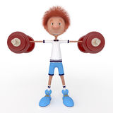 3d boy athlete. Raising of weights pledge of health Royalty Free Stock Photography