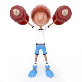 3d boy athlete. Raising of weights pledge of health Stock Photos