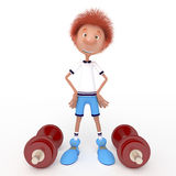 3d boy athlete. Raising of weights pledge of health. Sport Stock Images