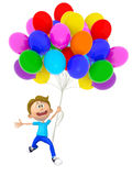 3D boy with balloons Royalty Free Stock Photography