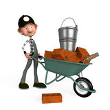 3d boy builder. The boy the builder, lays a brick on building Stock Photo