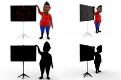3d boy with clock concept collections with alpha and shadow channel Royalty Free Stock Photo
