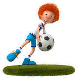 3d boy football player. Training of the athlete for the World Cup Royalty Free Stock Image