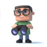 3d Boy in glasses with binoculars Royalty Free Stock Photos