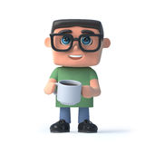 3d Boy in glasses drinking a coffee Royalty Free Stock Image