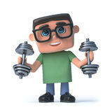 3d Boy in glasses exercises with weights. 3d render of a boy wearing glasses exercising with dumbell weights Stock Photography