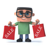 3d Boy in glasses has been to the sales. 3d render of a boy wearing spectacles holding to red sale bags Stock Images