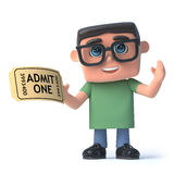 3d Boy in glasses has a ticket for the show. 3d render of a boy wearing spectacles holding an admission ticket Stock Image