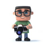 3d Boy in glasses holding a camera. 3d render of a boy wearing glasses and holding a camera Royalty Free Stock Photos