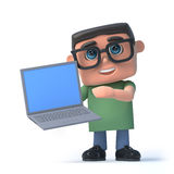 3d Boy in glasses holding a laptop pc. 3d render of a boy wearing glasses holding a laptop pc Royalty Free Stock Images