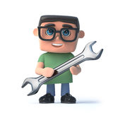3d Boy in glasses holding a spanner Royalty Free Stock Image