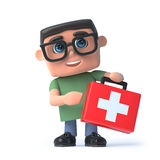 3d Boy in glasses holds a first aid kit. 3d render of a boy wearing glasses holding a first aid kit Stock Photos