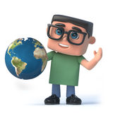 3d Boy in glasses holds a globe of the Earth Stock Photography