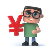 3d Boy in glasses holds Japanese Yen currency symbol. 3d render of a boy wearing glasses holding a Japanese Yen currency symbol Royalty Free Stock Photography
