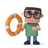 3d Boy in glasses holds a life ring Stock Photos