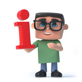 3d Boy in glasses holds a red information symbol. 3d render of a boy wearing glasses holding a red information symbol Royalty Free Stock Photos