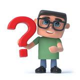 3d Boy in glasses holds a red question mark. 3d render of a boy wearing spectacles holding a red question mark Royalty Free Stock Photo