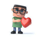3d Boy in glasses holds a romantic red heart Stock Photography