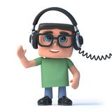 3d Boy in glasses listens to his headphones. 3d render of a boy wearing glasses listening to music on his headphones Royalty Free Stock Photography