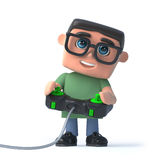 3d Boy in glasses plays a video game. 3d render of a boy wearing glasses playing a videogame Royalty Free Stock Photography