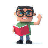 3d Boy in glasses reading a book. 3d render of a boy wearing glasses reading a book Royalty Free Stock Photos