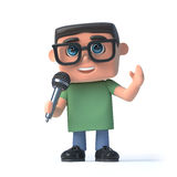 3d Boy in glasses sings into a microphone. 3d render of a boy wearing glasses holding a microphone Royalty Free Stock Photos