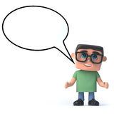 3d Boy in glasses with a speech balloon Royalty Free Stock Images