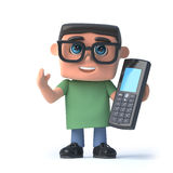 3d Boy in glasses talks on his cellphone. 3d render of a boy wearing glasses chats into a cellphone Royalty Free Stock Image