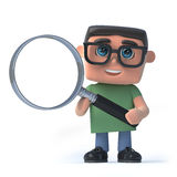 3d Boy in glasses using a magnifying glass. 3d render of a boy wearing glasses holding a magnifying glass Stock Photos