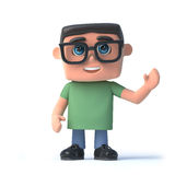 3d Boy in glasses waves hello Stock Photo