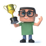 3d Boy in glasses wins the gold cup trophy. 3d render of a boy wearing glasses holding a gold cup trophy high above his head Royalty Free Stock Photos