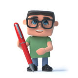 3d Boy in glasses writing with a pen. 3d render of a boy wearing spectacles holding a red pen Stock Image